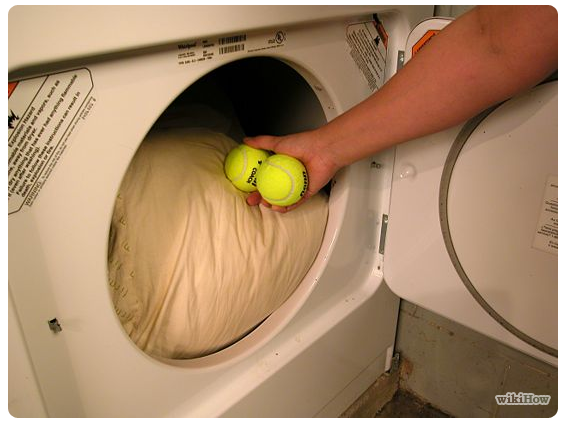Dryer with tennis balls