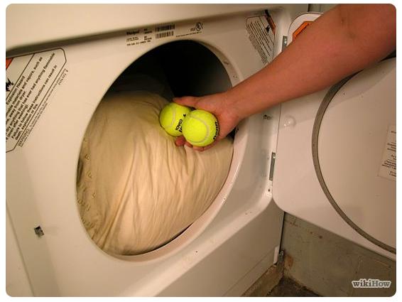Dryer with tennis balls