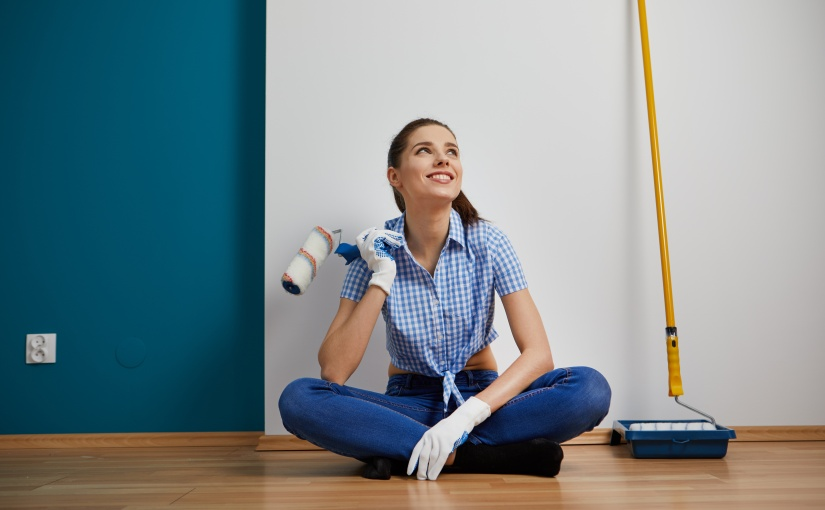 CanYa helps you avoid renovation disasters, soon you will be as care free as this girl sitting on the ground with a paint brush