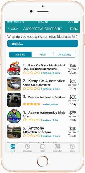 CanYa on iPhone iOS gives you the option to get immediate help front trusted providers