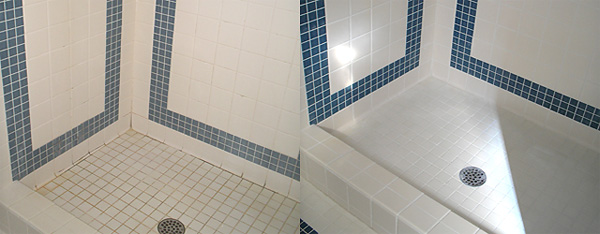 A before and after picture for a bathroom. So clean in the second photo and it doesn't need to be hard.