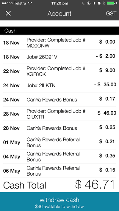 CanYa Account shows you all of your transactions and allows you to be paid with the tap of a button.