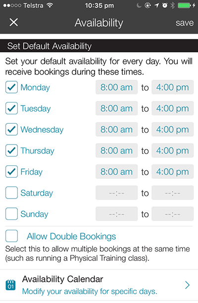 Setting your availability with CanYa allows you to indicated when you want to work. You will not be bothered outside of these times