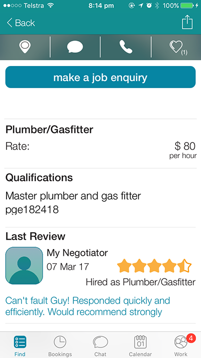 Provider profile on CanYa, it shows previous reviews, gives you the ability to in-app message or call him and also to make a job enquiry