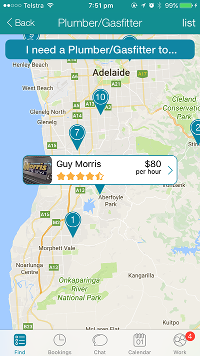 The CanYa App has a map function which shows you were all of the service providers are reference your location