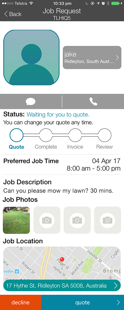 The CanYa Job requests has all the information that you would require to quote on a job