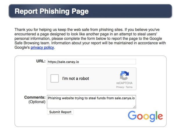 Reporting the phishing scam that is out again the CanYaCoin ICO