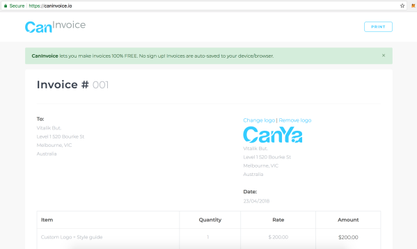 CanYa Invoices make cryptocurrency payment and freelancing easier